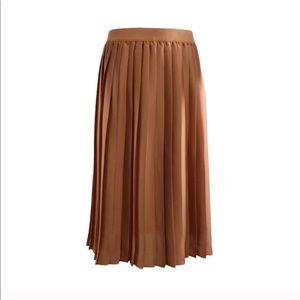 Maison Jules Pleated Copper Midi Skirt